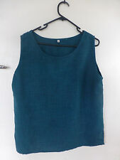 sleeveless top with edging cut on bias size M peacock blue cami tank Avalon