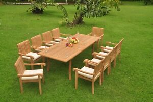 """11-Piece Outdoor Teak Dining Set: 94"""" Rectangle Table, 10 Stacking Chairs Napa"""