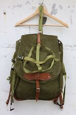 Vintage Romanian military leather and canvas outdoors rucksack