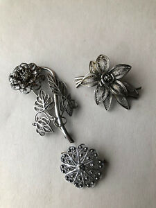 Lot 3x Pretty Vintage Fine Silver & White Metal Floral Filigree Brooches