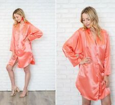 Vintage 80s 90 Pink Satin Shirtdress Oversize Slouchy Pleated Shirt Dress S M L