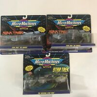 Vintage Galoob Micro Machines Star Trek Starships Three Packs Lot 1994