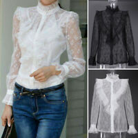 UK Womens Long Sleeve Lace Patchwork Shirt See Through Evening Party Top Blouse
