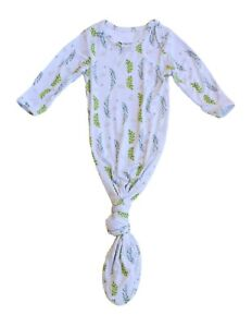 Keep Me Cosy® Knotted Baby Gown, One-piece Bamboo Babywear - Olive Leaves