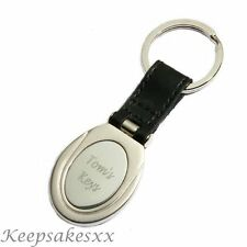 KEYRING in LEATHER with Personalised Engraving - Key Fob - Key Ring