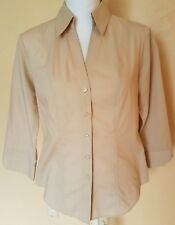 MARKS & SPENCER WOMENS CASUAL  MEDIUM BEIGE  CAREER 3/4 SLEEVE BLOUSE