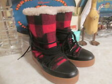 SHOE THE BEAR  ANTHROPOLOGIE TRISH WEDGE BOOTS BOOTIES LEATHER WOOL PLAID EU 37