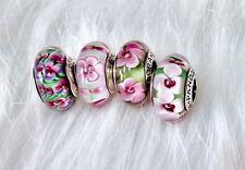 4 Pandora silver Murano Pink Green white flower Garden glass look Beads Charm