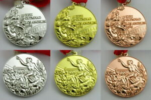 Los Angeles 1984 Olympic Medals Gold Silver Bronze with Ribbons 1:1 Full Size