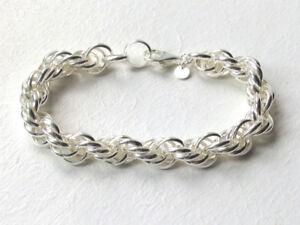 "Italian Chunky Sterling Silver Links Bracelet, 11mm Wide, Lengths 8"" - 9"""