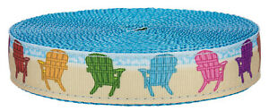 Country Brook Design® 1 Inch Beach Getaway on Ice Blue Nylon Webbing, 10 Yards