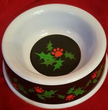 Christmas Puppy Dog Bowl Dish Feeder Water Food Treat Holly Red Paw Prints NEW