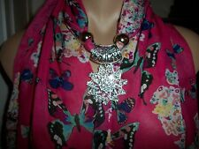 SCARF PENDANT NECKLACE BUTTERFLY SILVER PLATE VICTORIAN STYLE PIN JEWELRY OOAK