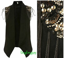 TOPSHOP BOUTIQUE BLACK WOOL WAISTCOAT JACKET WITH STUDS AND CHAIN last one NEW