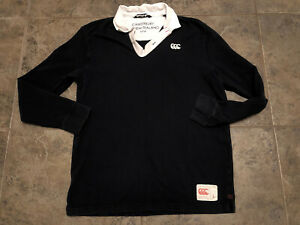 Men's Canterbury New Zealand Embroidered Polo Black Rugby Shirt Sz L