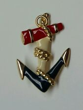 *Vintage* Nautical Boat Anchor Brooch Patriotic Red White Blue Enamel Gold