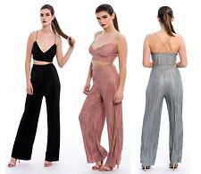 New Women's Ladies Pleated Bralette Palazzo Trouser Co-Ord Set -UK Size 8-14