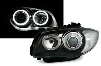 2 FEUX PHARE AVANT ANGEL EYES LED BMW SERIE 1 E87 E88 ET E81 E82 FOND NOIR