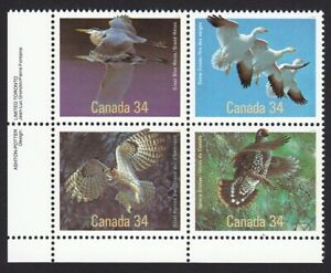 Birds = Owl, Heron, Grouse, Goose = Canada 1986 # 1098a MNH LL BLOCK OF 4