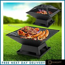 SQUARE FIRE PIT GRILL BBQ HEATER OUTDOOR GARDEN FIREPIT BRAZIER PATIO OUTSIDE