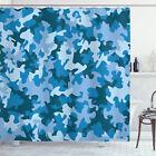Camo Shower Curtain Dark with Pale Motifs Print for Bathroom