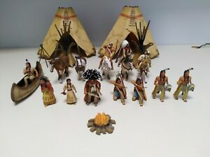 Schleich Native American Toy Lot - People, Buildings, Animals and Scenic Pieces