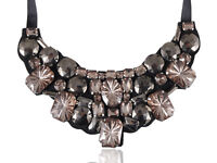 Fashion Women Gemstone Beaded Bib Black Satin Tie Ribbon Collar Necklace Jewelry