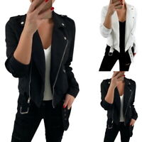 Women's Autumn Leather Jacket Slim Fit Motorcycle Jacket Zipper Casual Coat