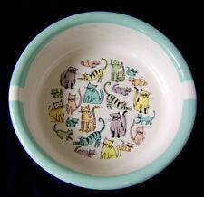 Cat Town Ceramic Pet Bowl By Room Creative Signature Stoneware White/Light Blue