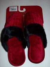 Isotoner Slippers Womens Sz 7.5-8 Backless Slip on Ruby Velour Faux Fur NWT