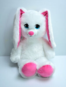 Build a Bear White Bunny Pink Ears Soft Plush Toy Washed & Clean Easter Rabbit