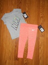 NEW NIKE Girl's Size 2T Dri-Fit Athletic Legging Pants & T-Shirt Outfit Set NWT