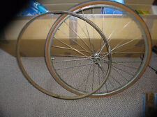 "vintage bicycle front wheel and dunlop 1 1/4"" rear rim sports or racing bike bsa"