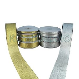 """25 Yards Nylon Metallic Taffeta Ribbon 1/4"""" 3/8"""" 7/8"""" 1.5"""" Gold/Silver U-Pick"""