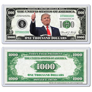 Donald Trump Premium Collectible USA Novelty 1000 Thousand Dollar Bill with Case