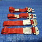 Vintage pair aftermarket Seat Belts RED + Chrome orig 60s era NOS hotrod custom