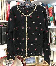 NORTHERN ISLES Pretty Knit Cardigan Sweater Women's Black w Beige Trim MEDIUM