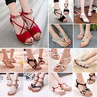 Womens Summer Beach Sandals Bohemia T- Strap Thong Slipper Flip Flop Flats Shoes