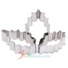 3x Stainless Steel Holly Leaf Cookie Cake Pastry Cutters Mold Fondant Decor Tool
