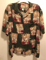 EUC Vintage Reyn Spooner Hawaiian Beach Palm Trees Aloha Camp Silk Shirt Mens XL