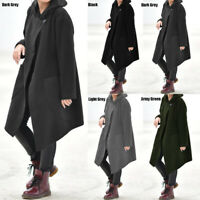 Autumn Womens Cloak Hooded Cape Jacket Coat Vintage Poncho Cover Up Tops Plus