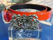 Glen Miller for Ann Turk Red Glossed Leather Belt Gothic Pewter Belt Buckle Med