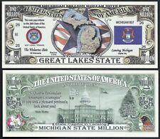 Lot of 25 Bills- Michigan State Million Dollar Bill w Map, Seal, Flag, Capitol