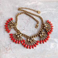 Brass Rhinestone Chunk Bib Necklace - Coral-Colored & Clear Stones, Fan Dangles