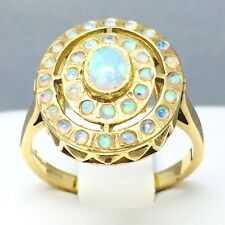 "LARGE 9CT YELLOW GOLD *OPAL* CIRCLE OF LIFE PATTERNED RING  SIZE ""N""  1735"