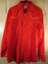Vtg Levi Strauss & Co 1980 Usa Olympics Button Front Red Shirt Pearl Snaps L