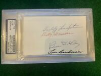 PSA Multi Autograph 3x5 Index Bill Dickey, Lou Boudreau, Billy Herman, Lindstrom