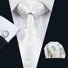 WHITE FLORAL SILK TIE HANKY & CUFFLINKS - ITALIAN DESIGNER