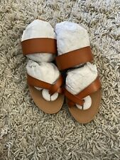 Just Fab - Cloey Faux Leather Slide - Brown. - Size 8