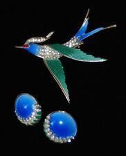 Vintage Trifari Green /  Blue Enameled Rhinestone  Bird Brooch and Earring Set